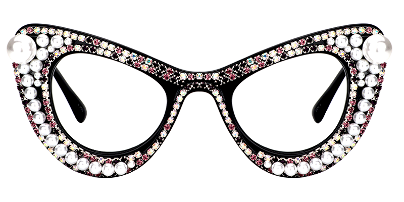 April Black Cat Eye Glasses with Beads and Blings